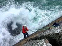 Big swell hitting as Rachel is rescued from Porth Clais.