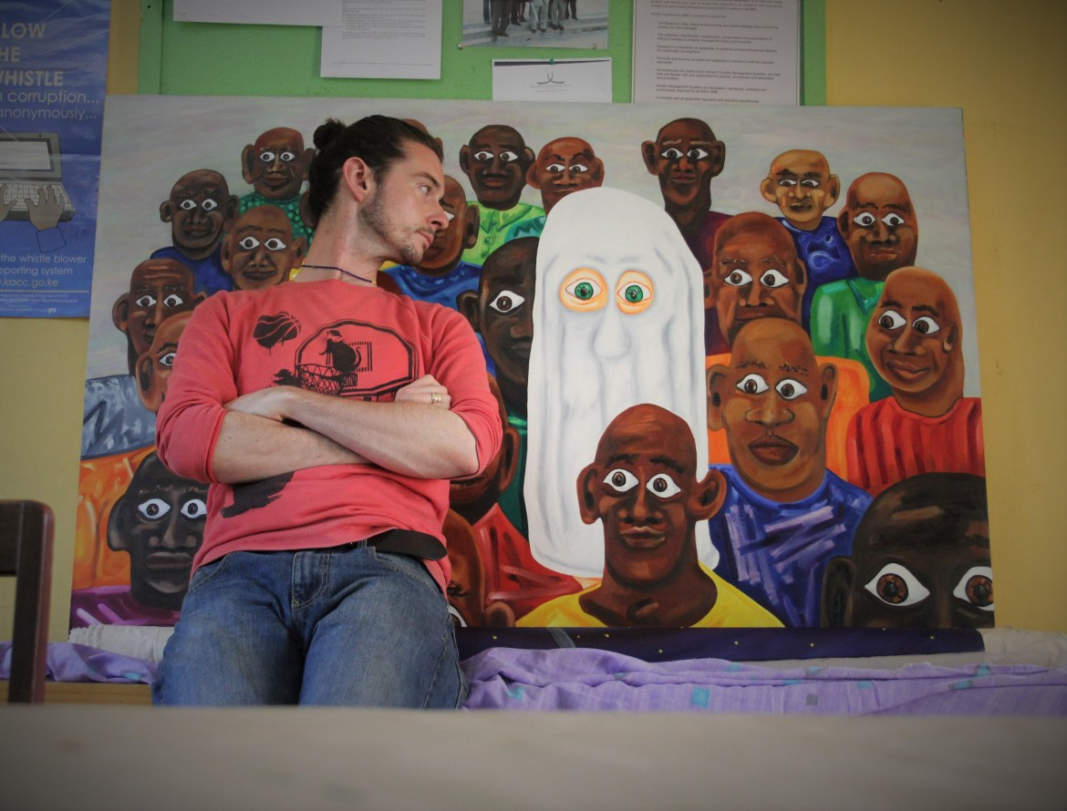 Clinton with 'Ghost in a crowd' - Nairobi Museum April 2014