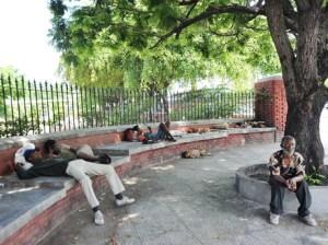 Homeless men in St. William Grant Park in Kinggston