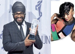 Exco Levi showing off 2013's Juno Award, and nominee Ammoye