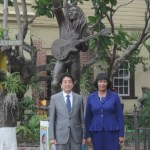 Japan's Prime Minister Shinzo Abe & Jamaican Prime Minister Portia Simpson-Miller at the Bob Marley Museum