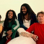 Bob Marley, Jacob Miller, Chris Blackwell in March 1980, after their return from Brazil