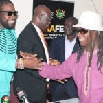 Reggae Star Grams Morgan (left), Panafest Ambassador, in a handshake with Ghanaian music icon, Amandzeba (right). Also in the picture are Mr Gaddy Laryea (2nd left) Coordinator of Panafest 2017 and Chief Kofi Kufuor proprietor of African Regent Hotel