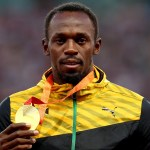 BEIJING, CHINA - AUGUST 28:  Gold medalist Usain Bolt of Jamaica poses on the podium during the medal ceremony for the Men's 200 metres final during day seven of the 15th IAAF World Athletics Championships Beijing 2015 at Beijing National Stadium on August 28, 2015 in Beijing, China.  (Photo by Alexander Hassenstein/Getty Images for IAAF)