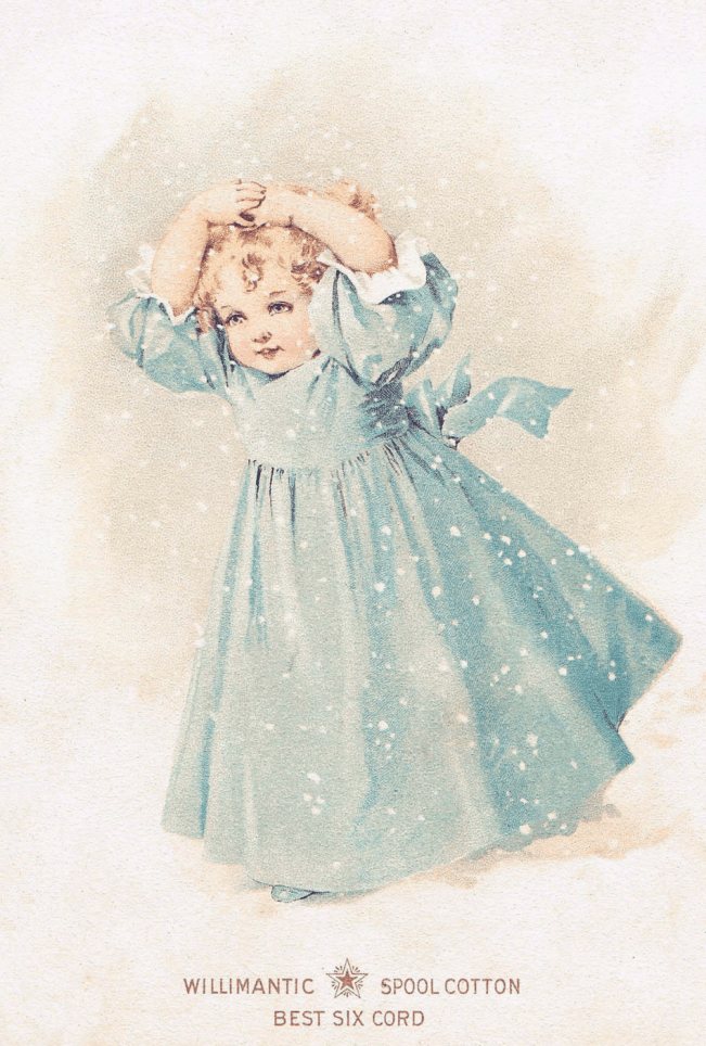 Victorian Girl In Snow clipart