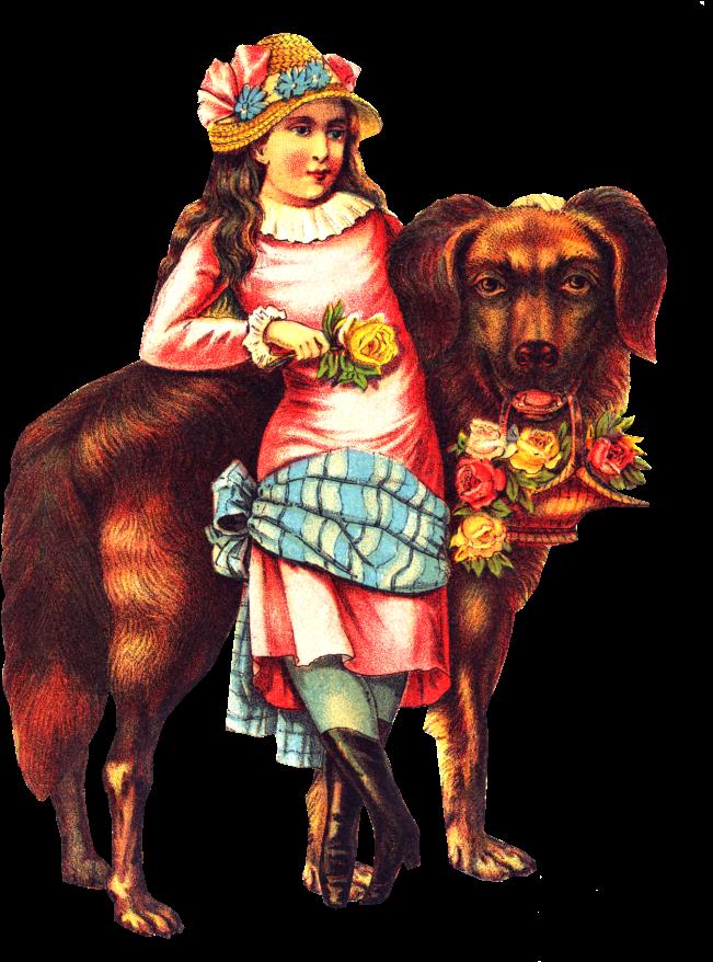 Free Victorian Girl Big Dog Clipart