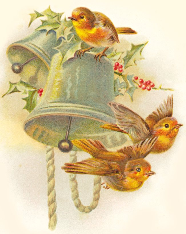 Free Vintage Birds on Bell Christmas Clipart
