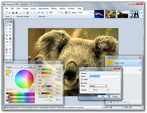 Image Editing Software, Paint.NET on a PC