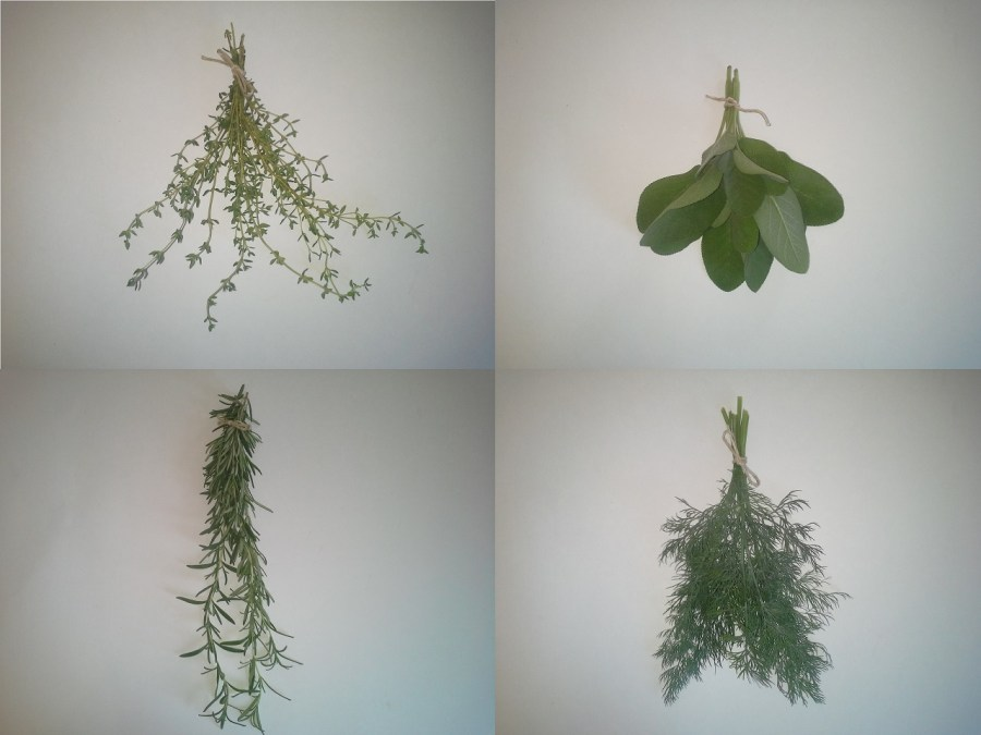 How to dry fresh herbs- bundle them.