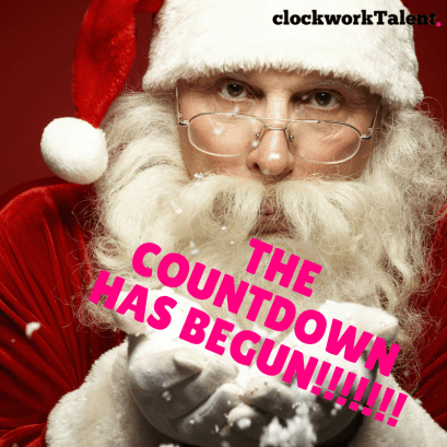 Santa blowing snow - the countdown has begun in pink