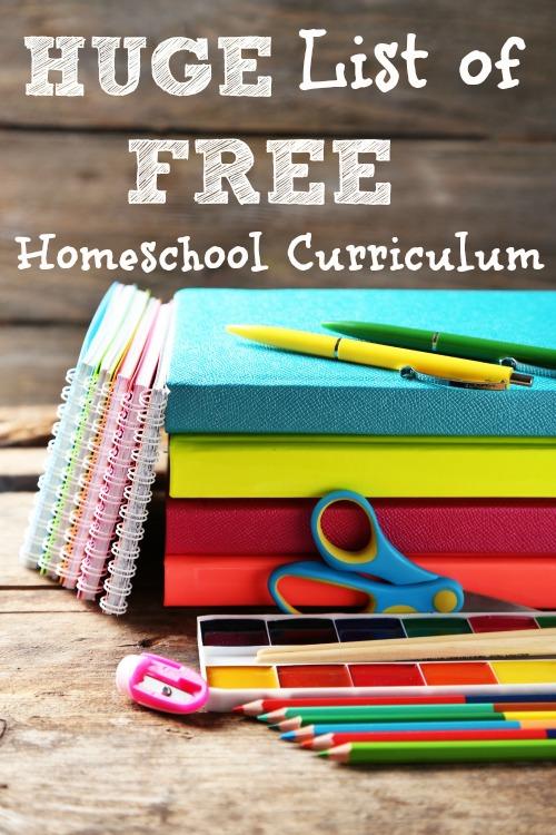 HUGE List of FREE Homeschool Curriculum