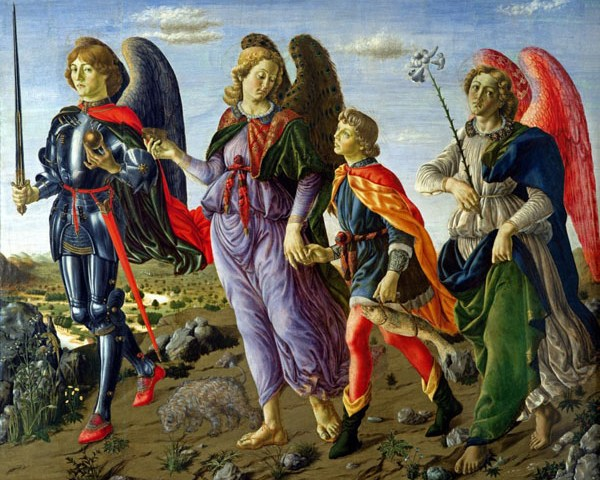 ALG227141 The Three Archangels and Tobias (tempera on panel) by Botticini, Francesco (c.1446-97); 135x154 cm; Galleria degli Uffizi, Florence, Italy; (add.info.: Les Trois Archanges et Tobie fils;); Alinari; Italian,  out of copyright