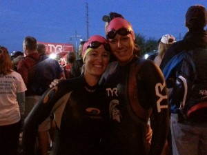 IRONMAN ARIZONA 2014 Stacy and Michelle wetsuits