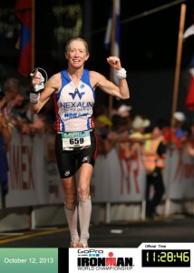 Sherry Boston Rennard crosses the Kona IRONMAN finish line