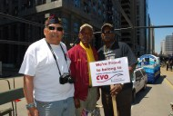 Montford Point Marine Association members Paul Knox, Art Bingham and Willis Whitley.