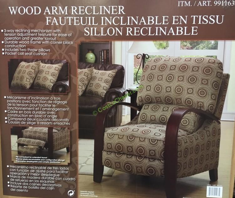 Click to Enlarge & Synergy Fabric Wood Arm Recliner u2013 CostcoChaser islam-shia.org