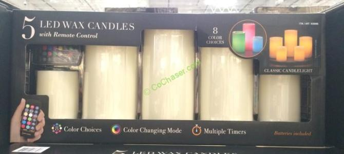 5 PK Color Changing LED Wax Candles with Remote Control