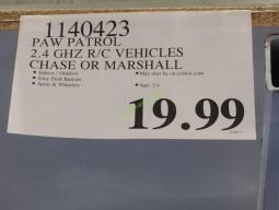 Costco-1140423-Paw-Patrol- RC-Vehicles-Chase -Marshall -tag