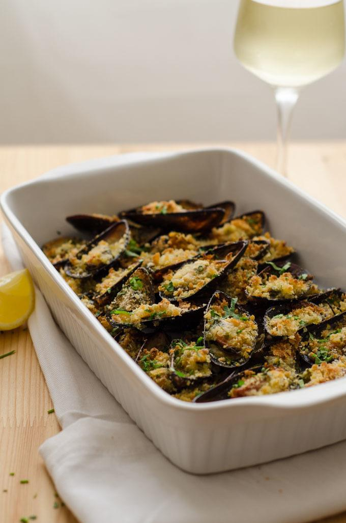 Mussel Gratin With Lemon And Parsley Butter - Cockles n' mussels