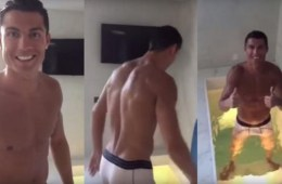 MAN CANDY: Cristiano Ronaldo Takes Cold Bath — Watch White Briefs Go See-Through [Video]