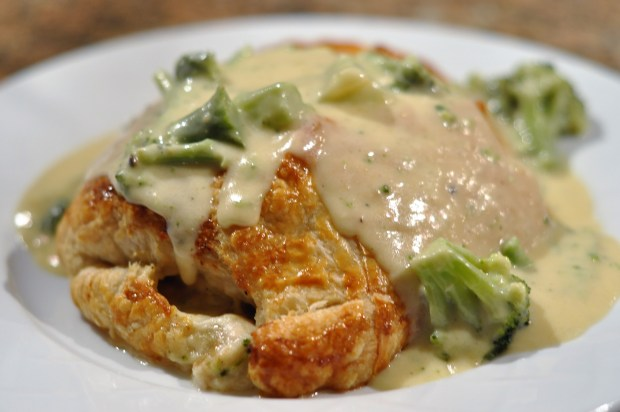 Chicken galettes with brocoli mustard cream