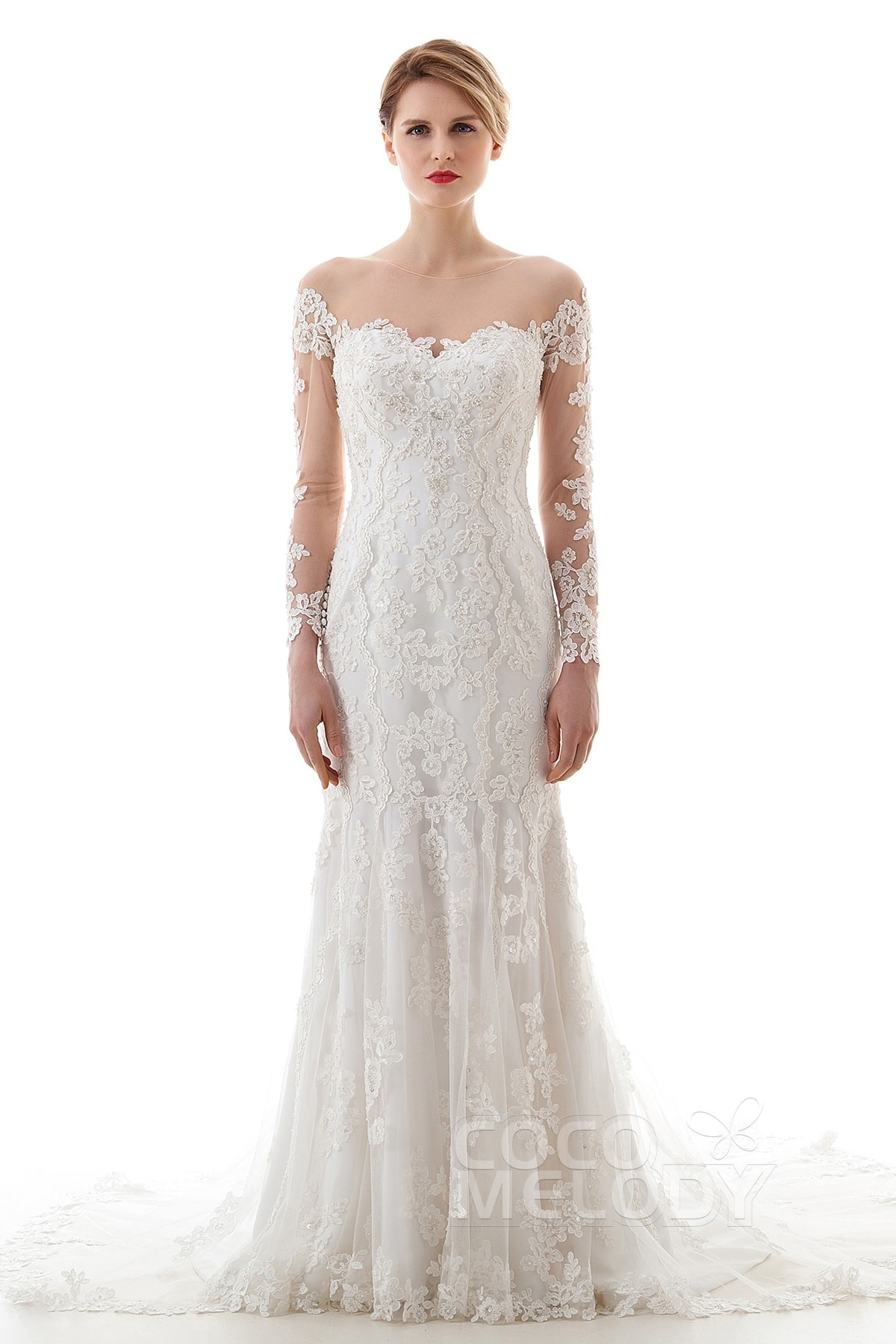 wedding dresses empire wedding dress Charming Trumpet Mermaid Illusion Dropped Court Train Lace and Tulle Ivory