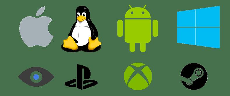 Platform Logos Mac, Linux, Android, Windows, Oculus, PS4, Xbox One, Steam