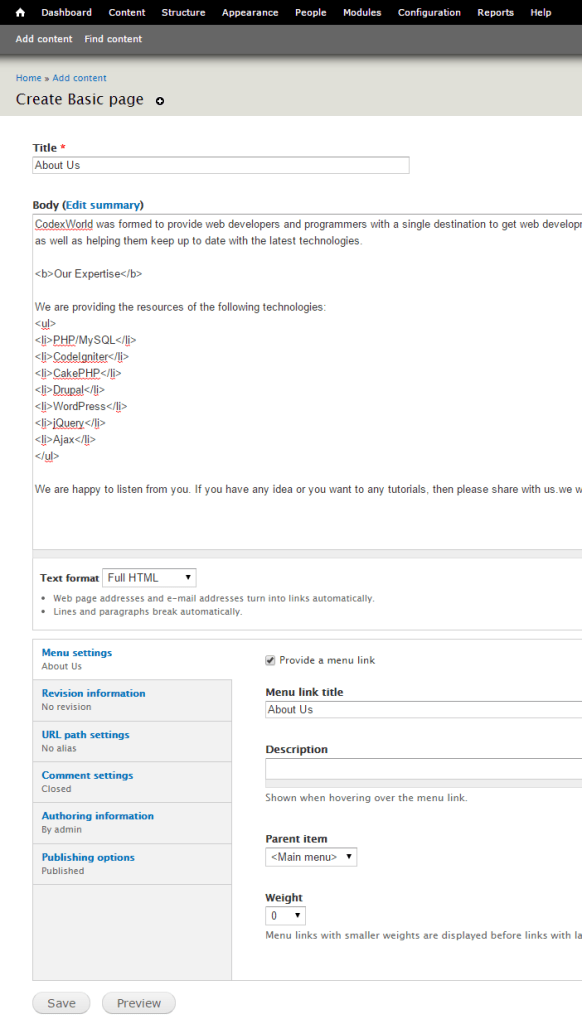 drupal-add-page-menu-settings
