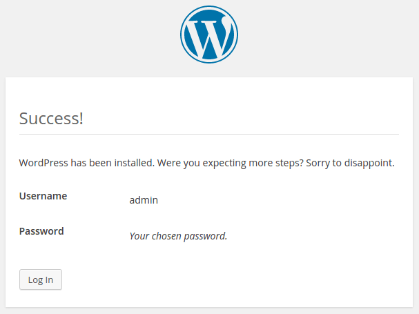 wordpress-tutorial-installation-success-by-codexworld