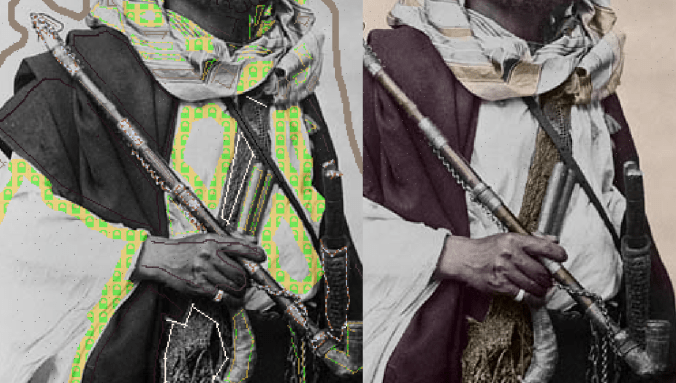 Colorizing pipe, handle and the knife.
