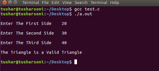 Check Validity of Triangle in C Programming Language