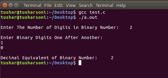 C Program To COnvert Binary To Decimal Number
