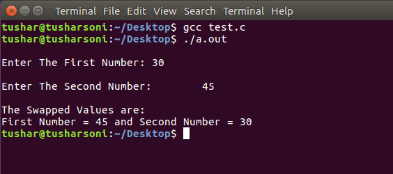 Swap Two Numbers using Pointers in C Programming