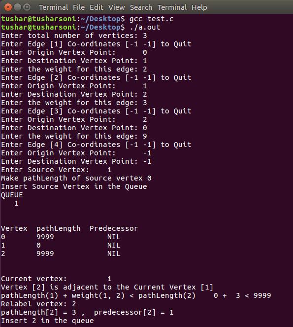 C Program To Implement Bellman Ford Algorithm using Queue