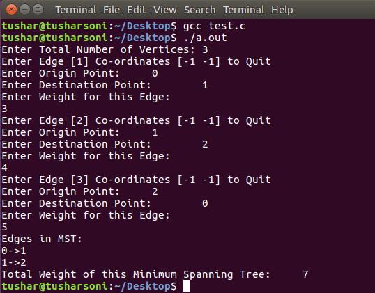 C Program To Implement Kruskal's Algorithm to create Minimum Spanning Tree