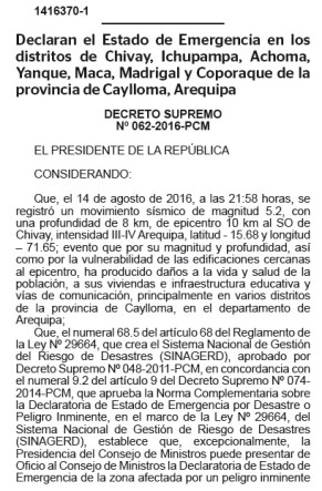 Declaratoria Estado de Emergencia Arequipa 2016