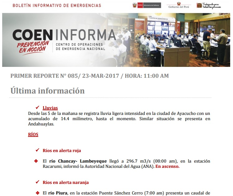 Boletin Informativo de Emergencia Nº 85