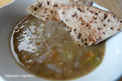 Lentil Soup with Pita Crisps