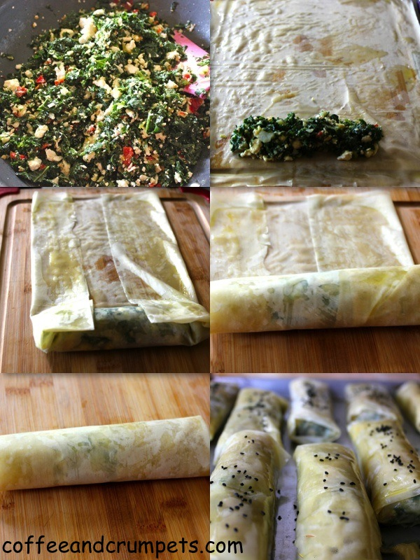 Collage 1 Kale, Feta and Potato Phyllo Rolls