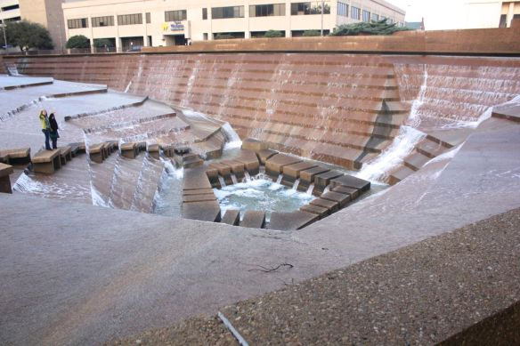 a very cool fountain where you can walk all the way down to the pool area
