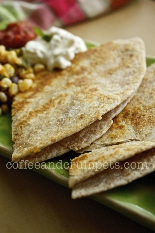 roasted green chilli and cheese quesadilla