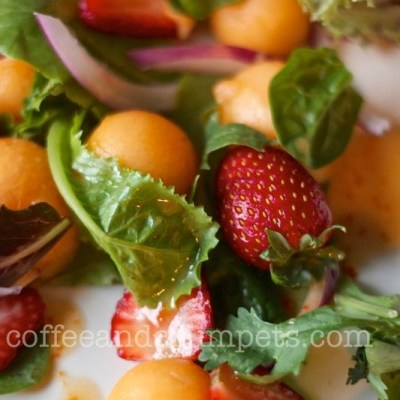 Strawberry and Melon Salad with Harissa Vinaigrette