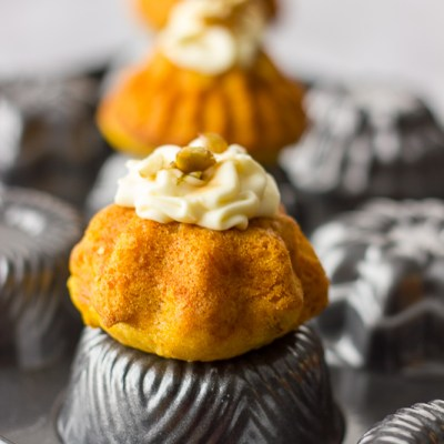 Pumpkin Mini Bundt Cakes with Cream Cheese Frosting