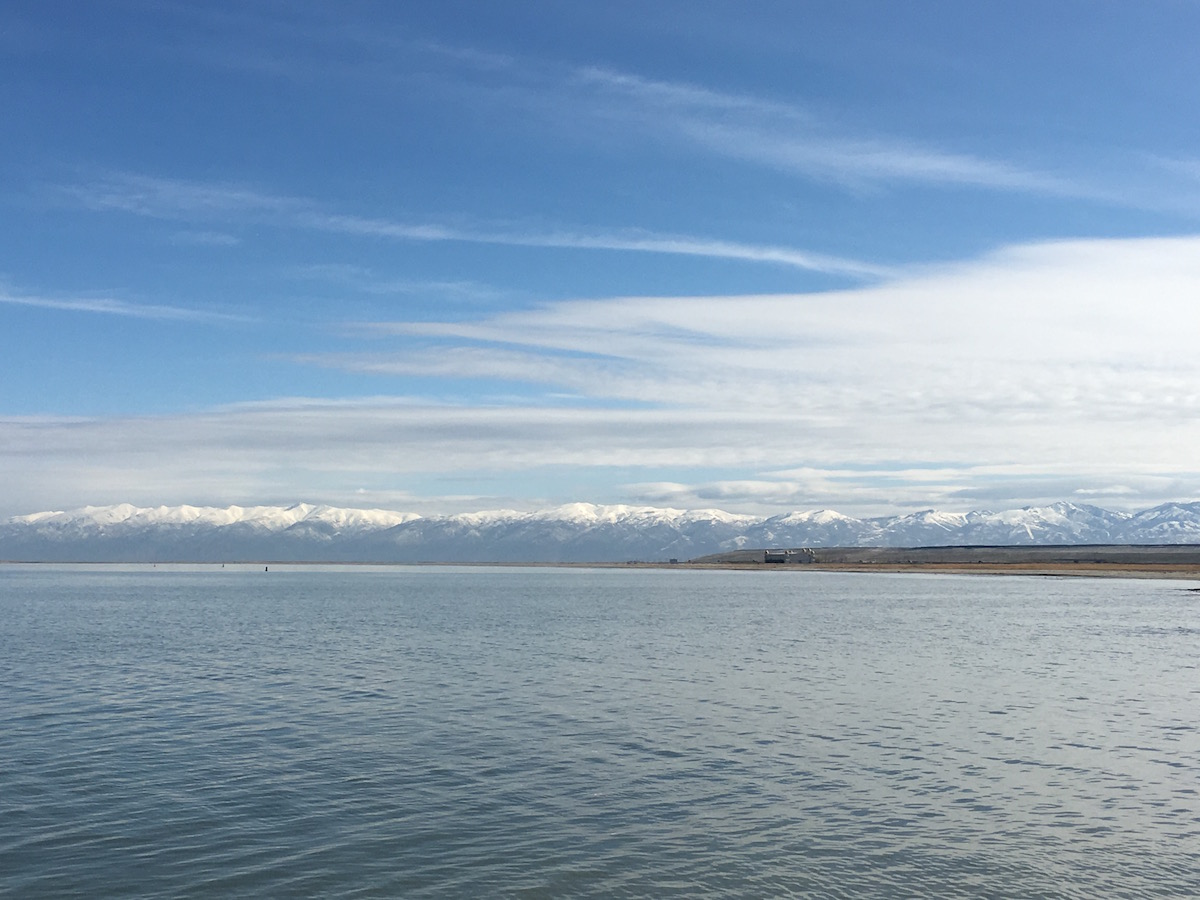 The Great Salt Lake surrounded by mountains