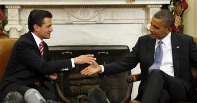 U.S. President Obama meets with Mexico's President-elect Nieto in the Oval Office of the White House in Washington