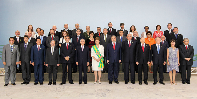 President Dilma Rousseff and her ministers Image by: Roberto Stuckert Filho/PR, Blog do Planalto. Taken from: https://www.flickr.com/photos/blogplanalto/5315325355