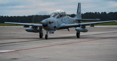 Chris Carlson, a Sierra Nevada Corporation senior pilot, taxis an A-29 Super Tucano on the flightline during its first arrival, Sept. 26, 2014, at Moody Air Force Base, Ga. The Afghan Air Force will implement the A-29 as their current air-to-ground aircraft, the Mi-35 attack helicopter, reaches its end of service life in January 2016. (U.S. Air Force photo/Airman 1st Class Dillian Bamman) Source: http://www.af.mil/News/Photos/tabid/129/igphoto/2000945465/Default.aspx