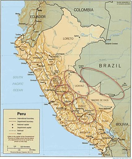 Asháninka general locations in Perú and Brazil.