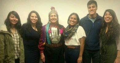 Lonko Juana Califunao Paillaléf and COHA Research Associates (From left to right: Evelyn Estrada, Elena Tiralongo, Lonko Juana Califunao Paillaléf, MIchelle Rosas-Parvool, Miguel Salazar, Mariana Araujo)