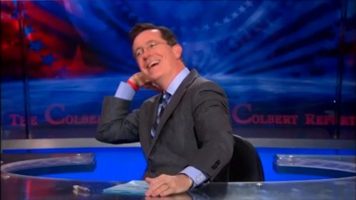 Stephen Colbert tosses his hair back on The Colbert Report January 10, 2013